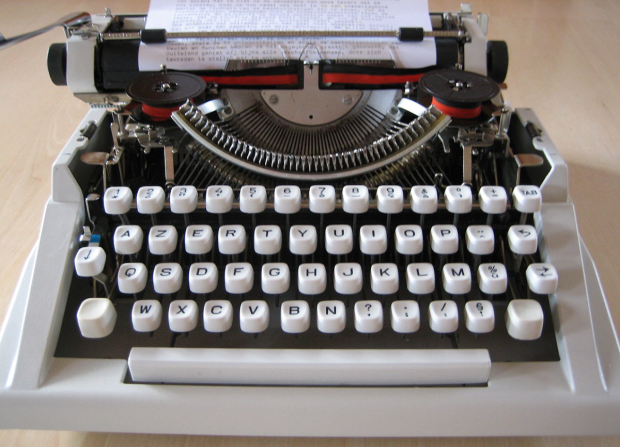 Old Hermes typewriter courtesy of Wikipedia. Forever green, runs on finger and brain power.