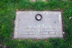 Baldwin shares a burial plot with his mother, Emma Berdis. FindaGrave.